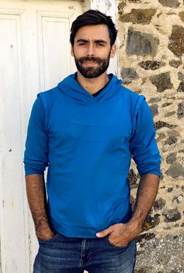 Robin hoodie men blue sweatshirt elven clothing warrior long sleeves shirt