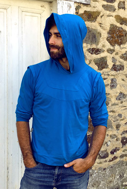 Robin hoodie men blue sweatshirt elven clothing warrior long sleeves shirt