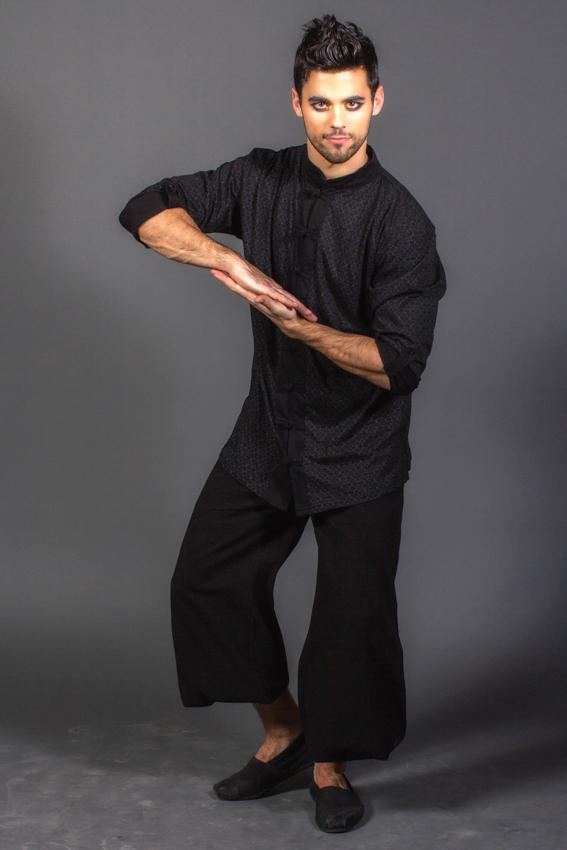 chemise peaceful mind pour homme manche longue imprimée col mao bouton chinois