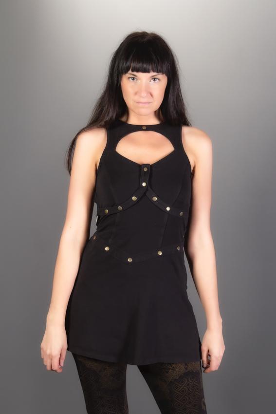 Robe Princesse Guerrière noire avec bracelet amovible. Robe Xena | Robe courte sexy futuristique steampunk Atlantis