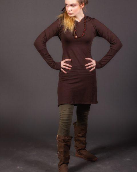 TUNIQUE undercover fairy robe tunique à manches longues pour femme en coton extensible couleur brun robe 4 saisons pour nomade