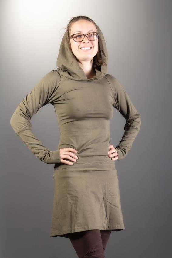 TUNIQUE undercover fairy robe tunique à manches longues pour femme en coton extensible couleur vert sauge kaki robe 4 saisons pour nomade