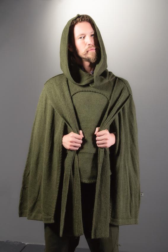 cape poncho ayam creation verte unisexe cape médiévale en laine