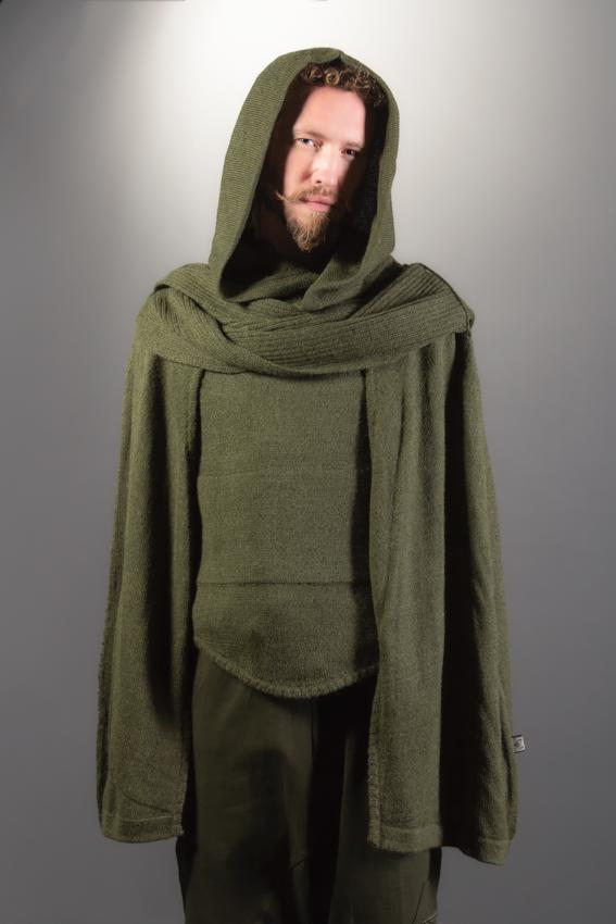 cape poncho verte pour homme cape elfique en laine alpaga