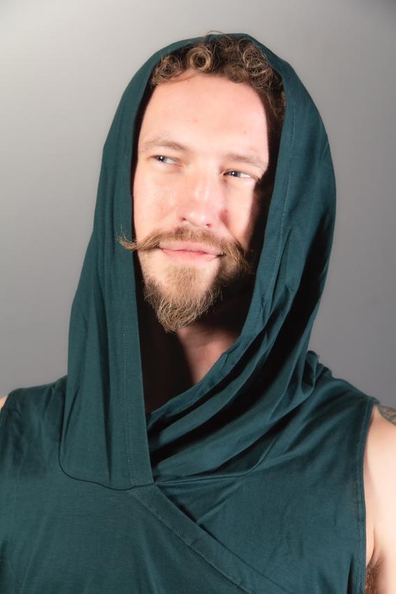 capuchon col baveux camisole de festival pour homme en coton sarcelle