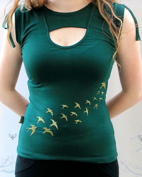 chandail multi dimensions vert t shirt brode vol d oiseau pour femme