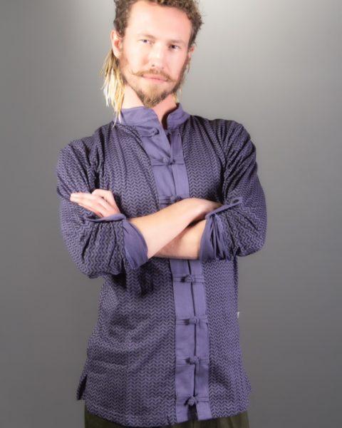 chemise à manche longue coton pima légère col mao couleur gris mauve bouton chinois