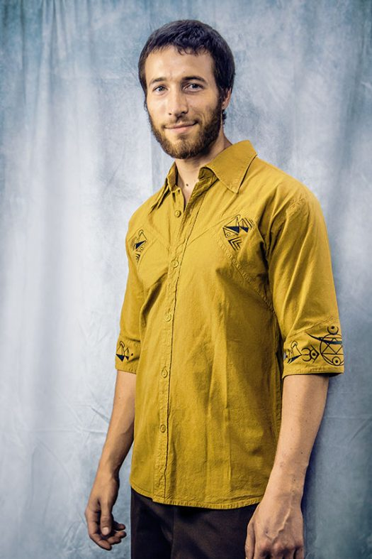 chemise coton biologique texture lin manche au coude broder de geometrie sacree