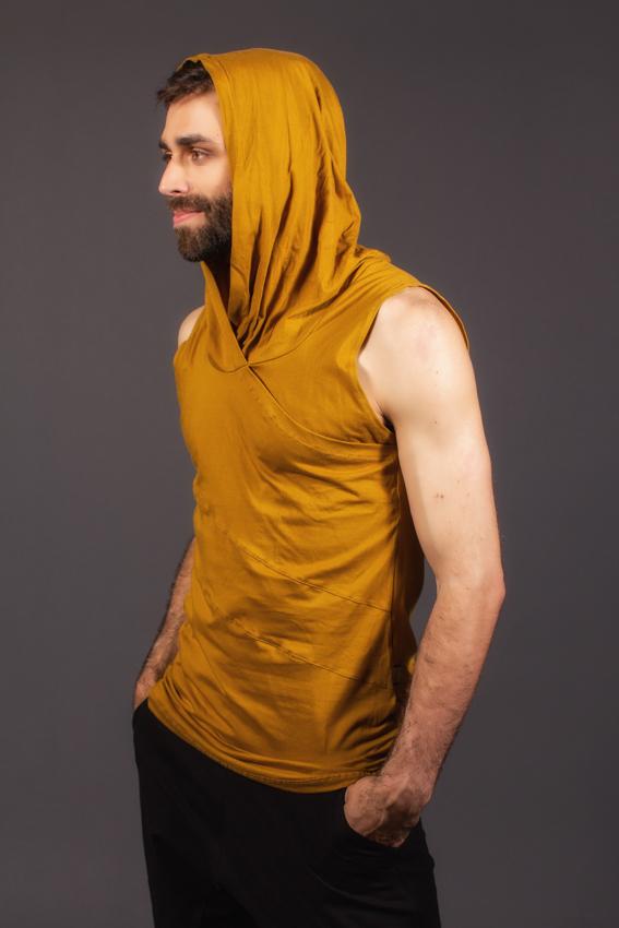 desert prince ocre camisole en coton pima pour homme chandail sans manche à capuchon