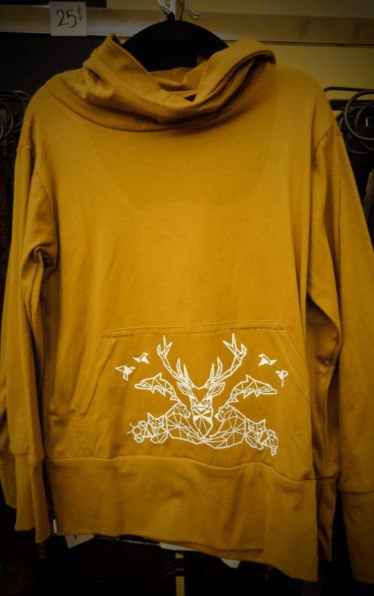 elemental hoodie chandail a manche longue pour enfant unisexe a capuchon ocre avec print geometrie animaux totem