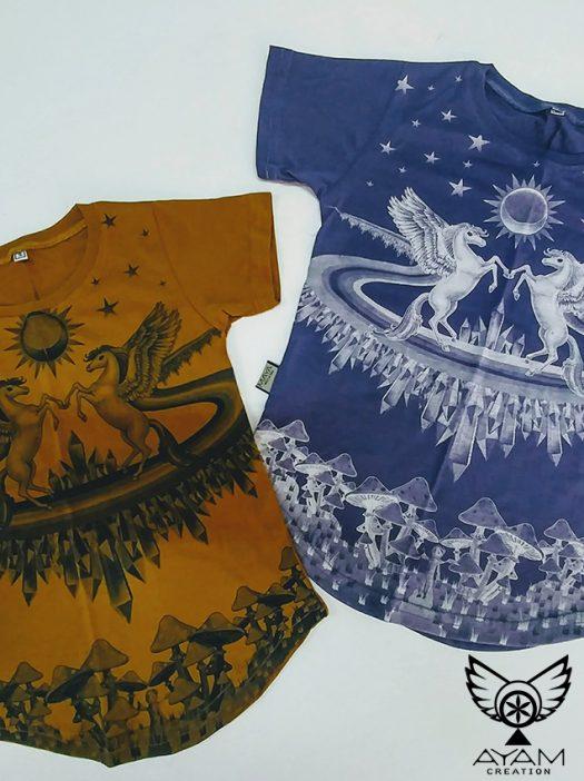 epic kids t shirt fantasia chandail de licorne de poney pour enfant unisexe ocre et mauve