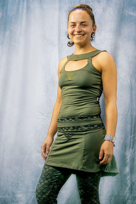 isis top de face camisole pour femme de deesse et leeging avec jupette en coton avec imprime