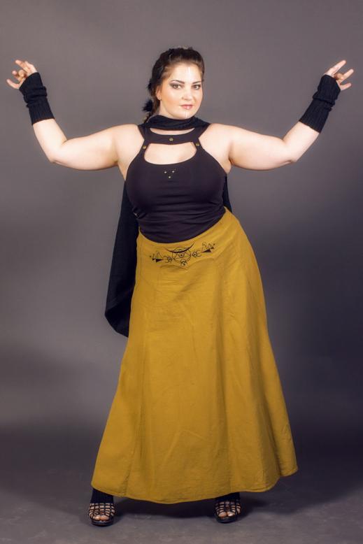 jupe longue ayam creation jupe ocre dorée jupe or longue pour femme en coton biologique fibres naturelles