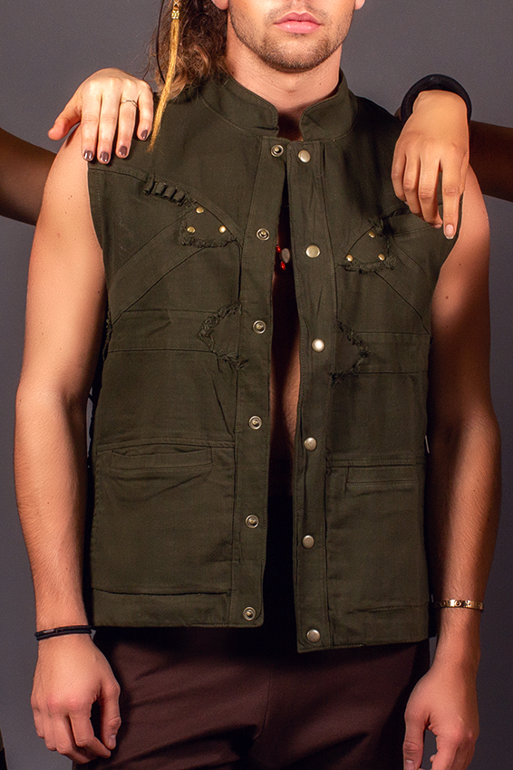 knight warrior spirit veste pas de manche heavy duty pour homme vêtement de festival post-apocalyptique vêtement de festival veste sans manche verte ajustable en coton