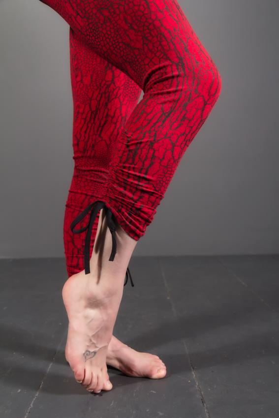 leggings en fibres naturelles ayam creation texture d'écorce vêtement décontracté vêtement de yoga leggings rouge pour femme