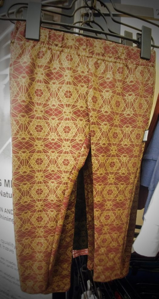 leggings pour enfant geometrie sacree bourgogne imprime or