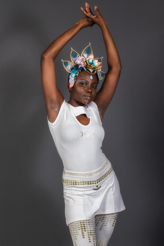 leggings trinité blanc imprimé or des phase de la lune leggings avec jupe et symbole de lune brodé vêtement blanc kundalini yoga legging avec jupe