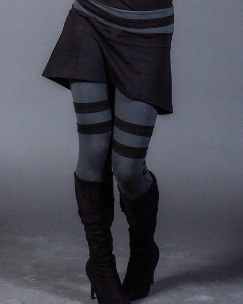 leggings trinité gris et noir avec triangle brodé leggings avec mini-jupe intégrée gothique leggings
