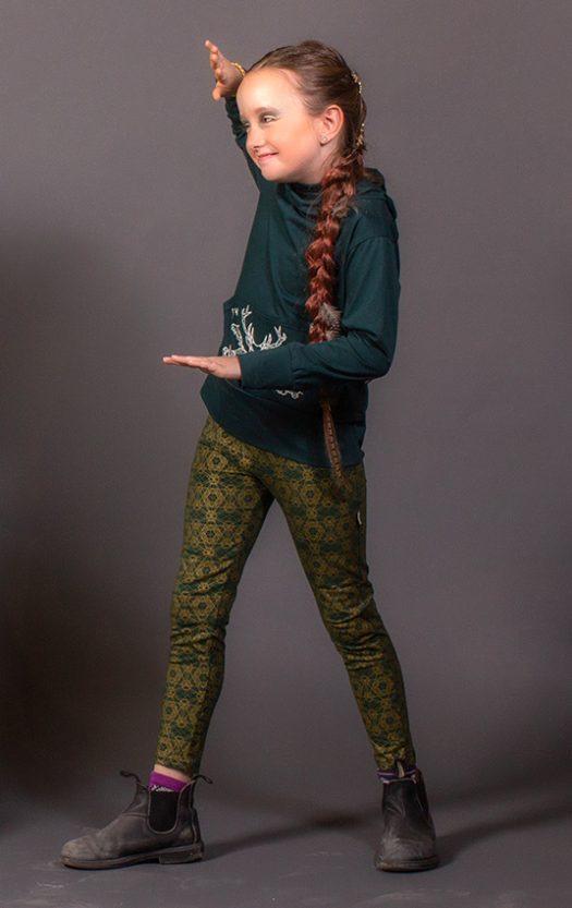 mini déesse leggings geometrie sacree vert imprime or