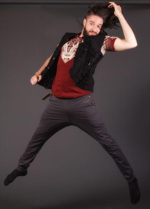 ninja pentalon avec snap décoratives aux poches pentalon fourche basse transformable en short gris