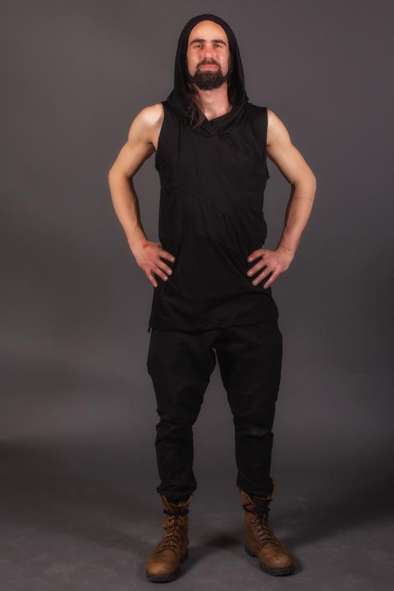 ninja pentalon avec snap décoratives aux poches pentalon fourche basse transformable en short noir