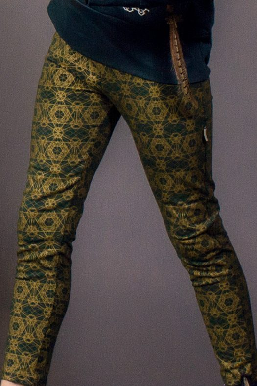 psy kidz clothes mini déesse leggings geometrie sacree vert imprime or