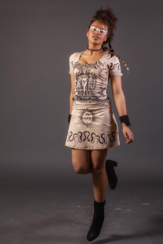 robe alchimie beige imprimée noire robe courte pour femme en coton extensible