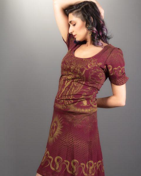 robe alchimie bourgogne imprimée or robe de festival vêtement de prêtresse petite robe avec manche courte