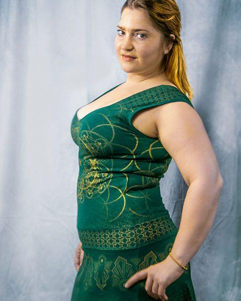 robe luna geometrie sacree verte imprime or robe courte pour femme