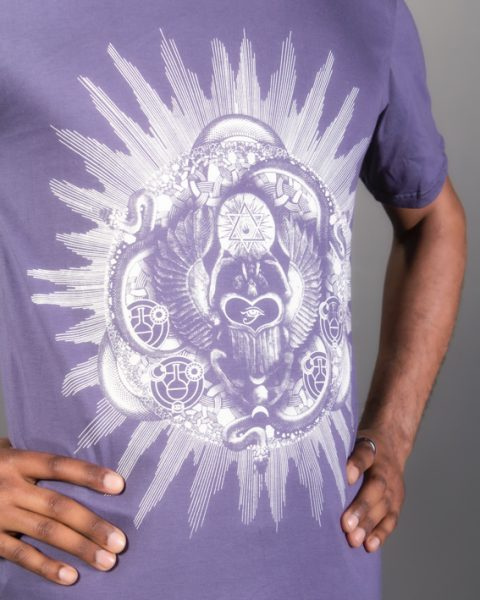 t-shirt alchimie mauve gris pour homme motif sacrée