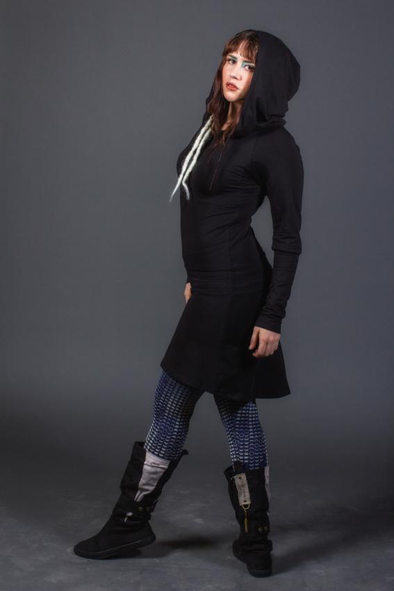 tunique robe manche longue pour femme robe de fée vêtement décontracté urbain robe noire gros capuchon