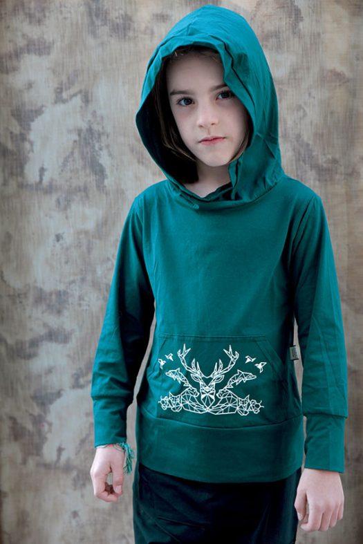 elemental hoodie chandail manche longue pour enfant en coton pima geometrie animaux couleur turquoise